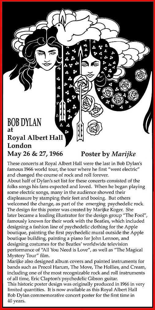 Bob Dylan at Royal Albert Hall poster by Marijke